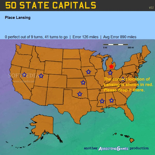 50 States and Capitals Games