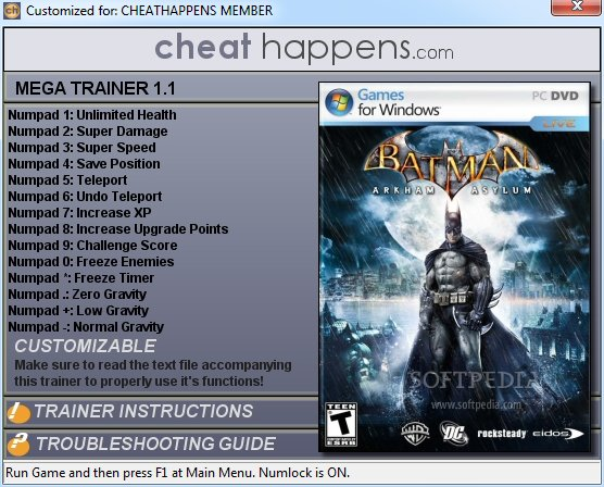 1Batman Arkham Asylum Trainer
