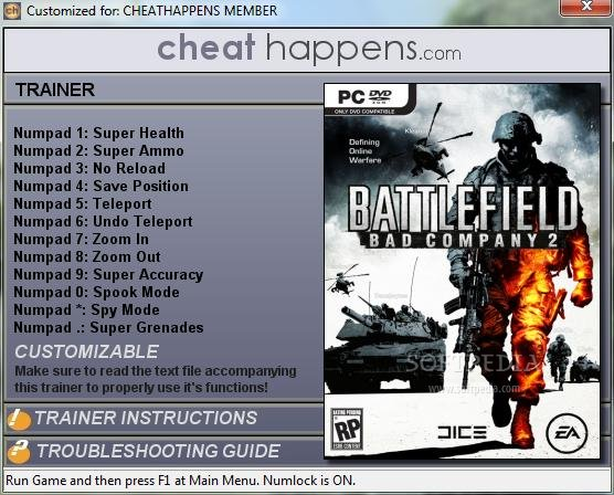 Battlefield: Bad Company 2 +12 Trainer screenshot 1