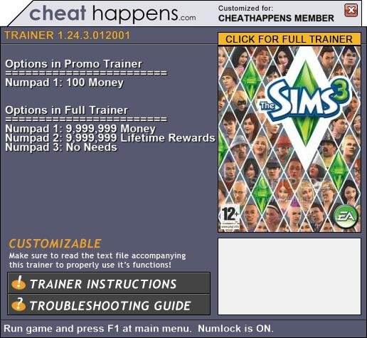 The Sims 3 +1 Trainer Download