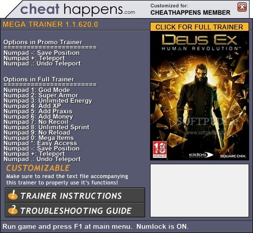 Deus Ex: Human Revolution +3 Trainer screenshot 1