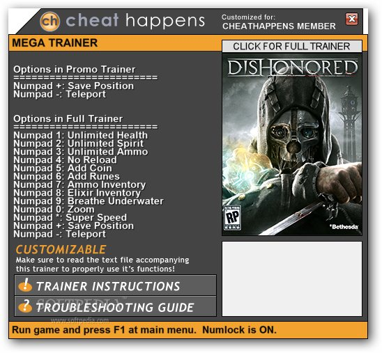 cheats for dishonored