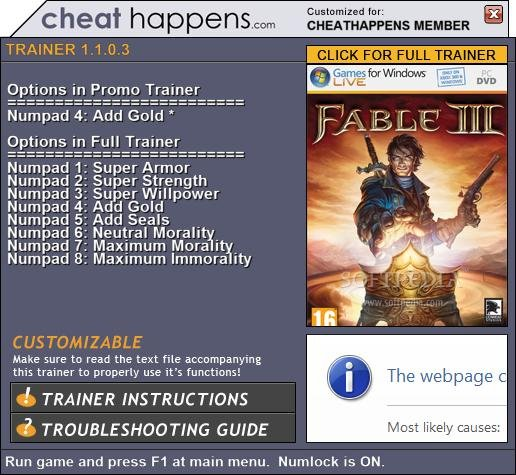 Fable 3 +1 Trainer screenshot 1