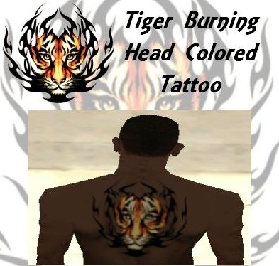 GTA: San Andreas Addon -	Burning Tiger Head Colored Tattoo screenshot 1