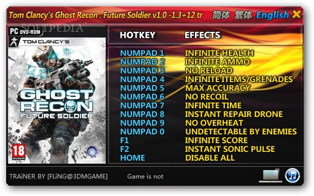 Ghost Recon: Future Soldier +12 Trainer for 1.0 - 1.3 Download