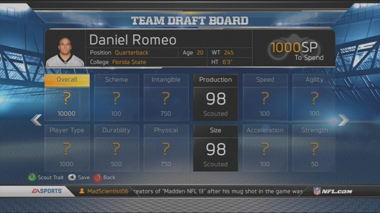 Madden NFL 13: Connected Career Scouting and Draft Guide - Tips and