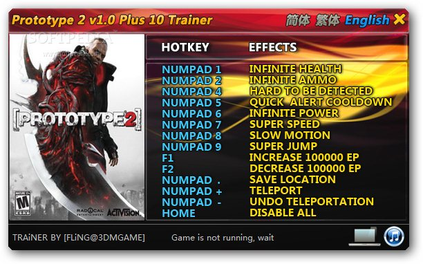 Prototype 2 +10 Trainer for 1.0 screenshot 1