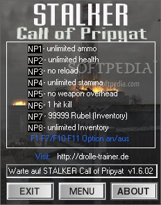 how to use stalker call of pripyat trainer