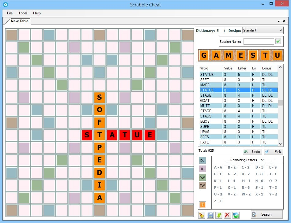 Scrabble Cheat - Scrabble Cheat also displays the bonuses