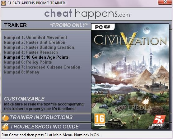 Sid Meier's Civilization V +1 Trainer screenshot 1