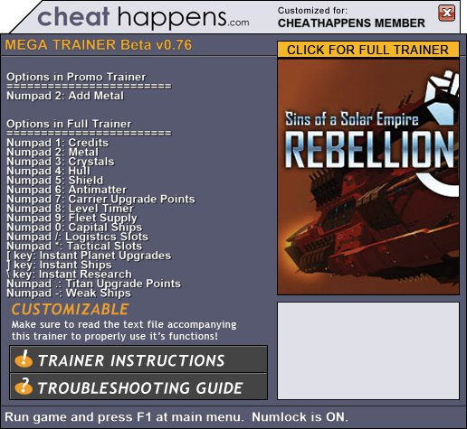 Sins of a Solar Empire: Rebellion +1 Trainer screenshot 1