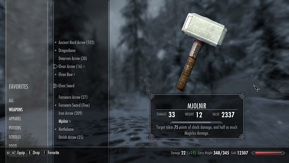 skyrim mod hammer of shor mjolnir download