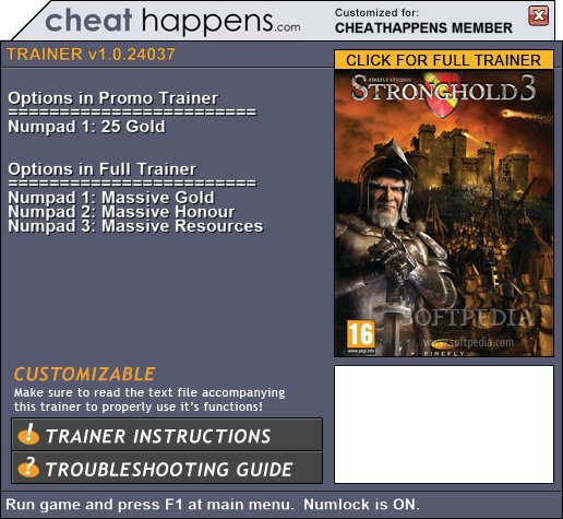 stronghold 3 trainer download