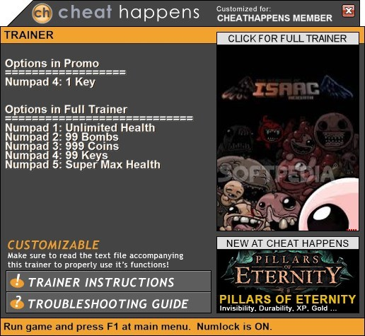 The Binding Of Isaac: Rebirth +1 Trainer Download