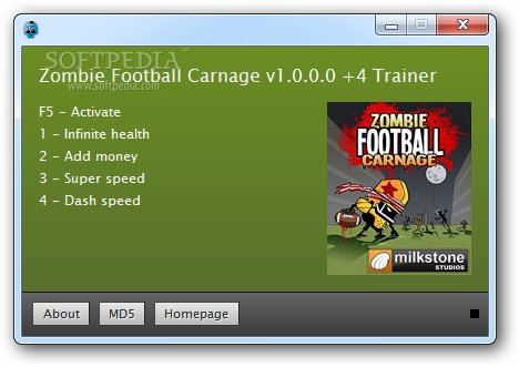 Zombie Football Carnage +4 Trainer for 1.0 screenshot 1